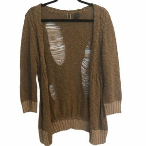 BKE distressed chunky knit cardigan sweater